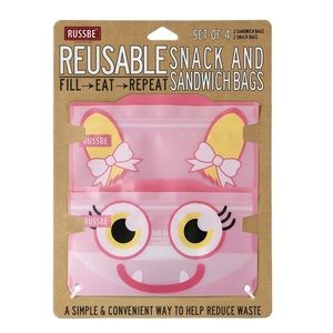 RUSSBE Reusable Snack Sandwich Bags 4 Pink Monster